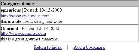 Выполнение страницы view_bookmark.php для категории dining