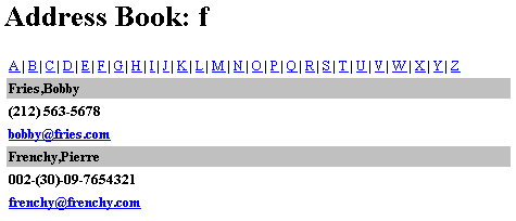 Страница адресной книги